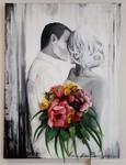 3d-Gemälde Paar küsst sich und Blumen ragen aus der Leinwand von Anette Betros